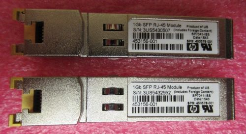 2 x HP 453156-001 1GB SFP 1000Base-T RJ-45 Transceiver Module 453578-001